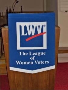 photo of LWV banner on podium