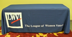 photo of LWV-logo table throw
