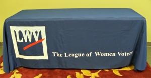 photo of LWV-logo table throw